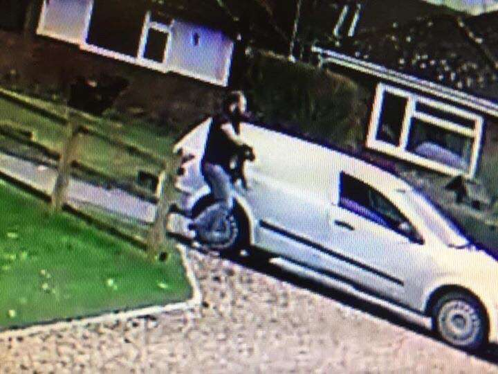 MAN CAUGHT ON CCTV STEALING ARTHUR, Kingston Bagpuize, Oxfordshire. #PetTheftReform