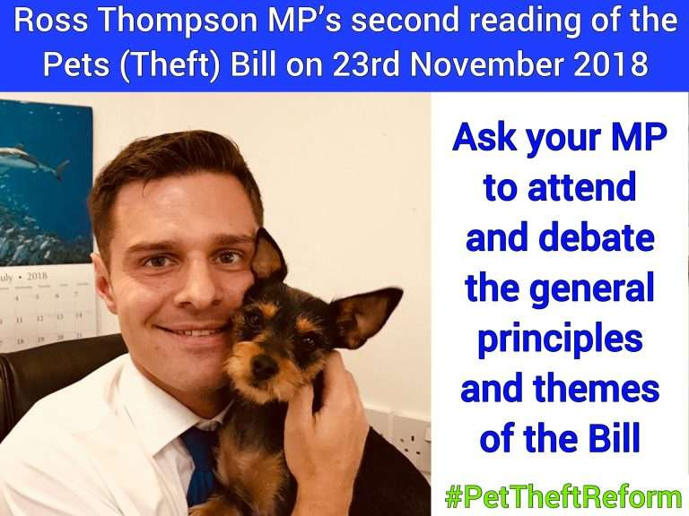 Change of date for Ross Thompson MP's Private Members Pets (Theft) Bill to 25 January 2019 #PetTheftReform.  Write to your MP.