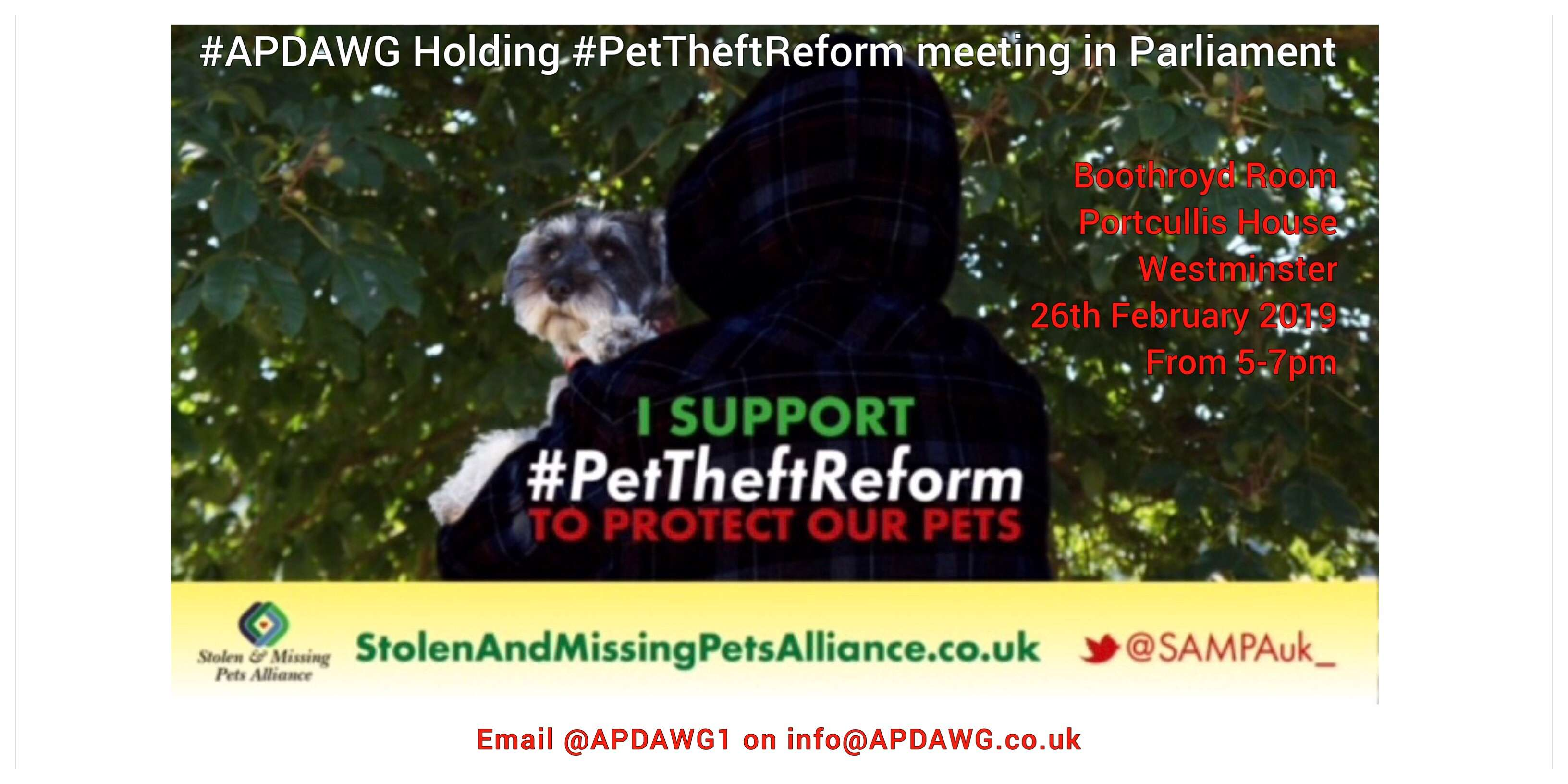Please join us for the Pet Theft Meeting with #APDAWG 26.02.19 #Parliament #PetTheftReform