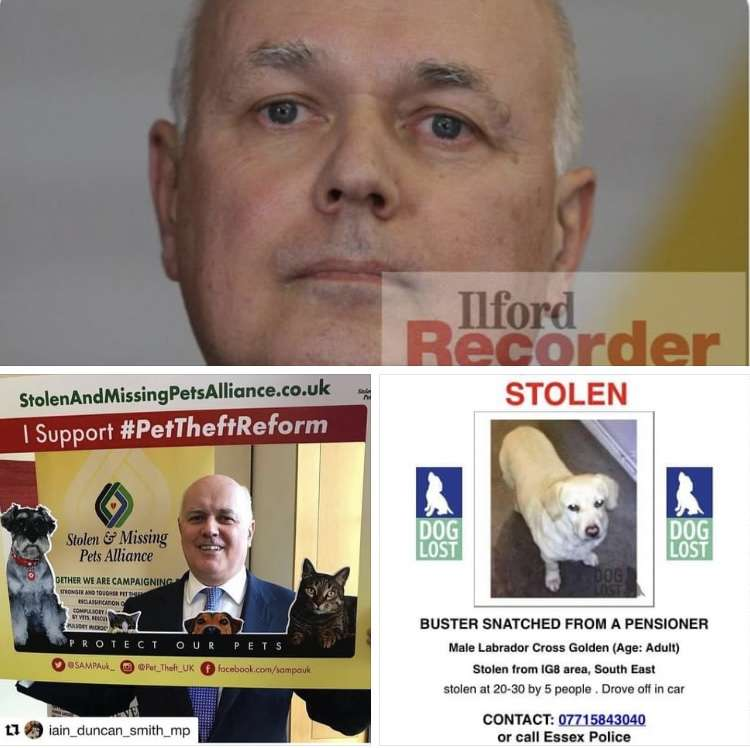 STOLEN BUSTER has caught Iain Duncan Smith MPs attention, as he writes about the Growing public support for tougher pet theft sentences #PetTheftReform